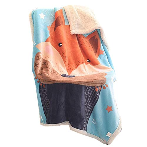 Doppelte Verdickung Babydecke/Kinderdecke, Sehr Weiche Decke für Babys Flanell Kuschlige Decke, Weiche für Babybett/Kinderwagen, Neugeborenes Geschenk, 100 x140 cm (Fuchs) -