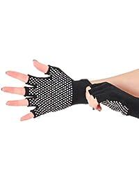 b21b2a8cea475b Lamdoo Unisex-Handschuhe für Erwachsene, Silikon, gestrickt, elastisch,  halbe Finger Schwarz