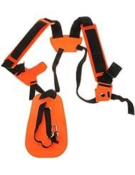 PIXNOR Harnais double bretelles réglables pour débroussailleuse (Orange)