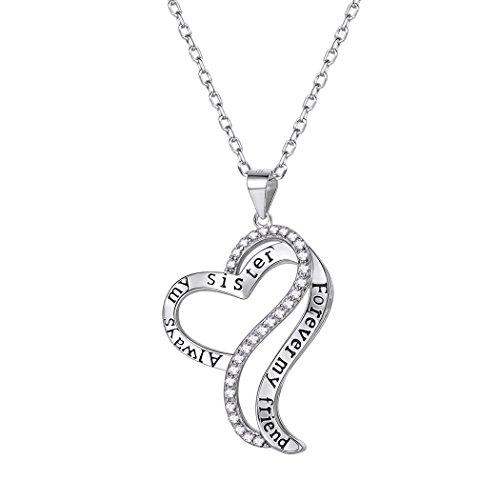 Suplight Herz-Halskette mit Herz-Anhänger Always My Sister, Forever My Friend mit Zirkonia, 925er...