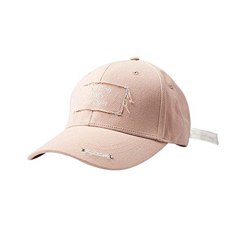 Weiblicher Sommer koreanische Version der Baseballmütze Volltonfarbe lange Band Kappe Hut traf die Farbe Multifunktionsleiste Hip Hop Cap Hut (4 Farben optional) (Farbe : Pink)