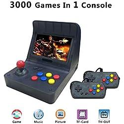 Anbernic Console de Jeux Portables, Console de Jeux Retro 4.3 Pouces 3000 Console De Jeux Classique TV Output Game Console with 2PCS Joystick , Les Cadeaux Les Enfants - Transparent Noir