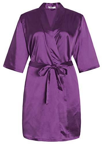 Latuza Damen-Kimono-Bademantel aus Satin, mit Taschen, kurz - Violett - 2X Mehr (Frauen Für 3x Sommer-roben)
