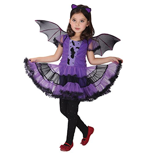Imagen de m&a vestido de murciélago para niña, disfraz costume cosplay carnaval fiesta hallowaeen 134/140 negro + violeta