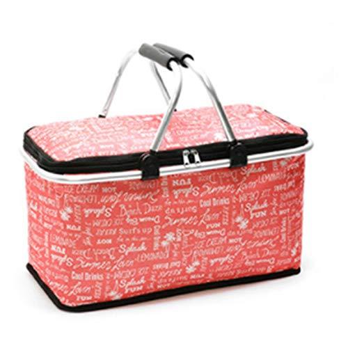 Cotangle Funktionelle Isolierung Einkaufskorb Im Freien tragbarer faltender Picknickkorb Isolationskühlspeicher-Mittagessenbeutel (Farbe : Red English Letters)