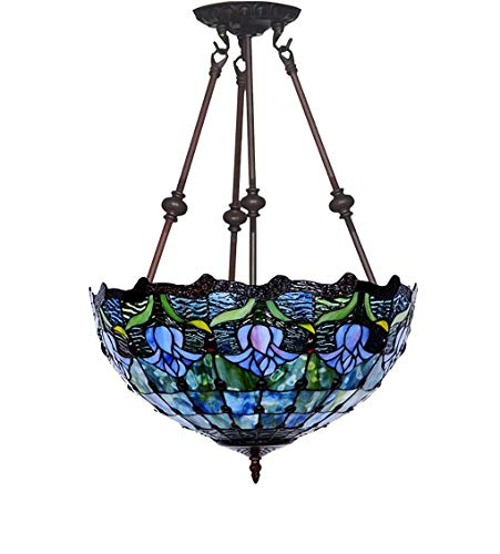 Tiffany Style Pendelleuchten, 16 Zoll Europäischen Stil Kreative Tulpe/Glasmalerei Kronleuchter/Hängeleuchte, Dekorative Pendelleuchte für Bar, Esszimmer, E27, Max60W, a, BOSS LV, a -