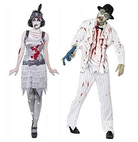 Paar Kostüm Zombie weiß Nadelstreifen Gangster Flapper Ghost Mobster 1920's 20's Halloween Kostüme Party Outfits - Weiß, Ladies UK 16-18 & Mens Large