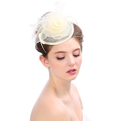 Lazzboy Partyhut Mode Hochzeit Frauen Fascinator Penny Mütze Bänder und Federn(M,Beige)