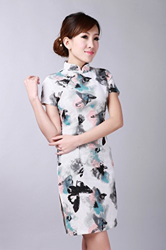 Bigood Robe Lin Femme Qipao Cheongsam Mariage Cérémonie Chic Gris Gris
