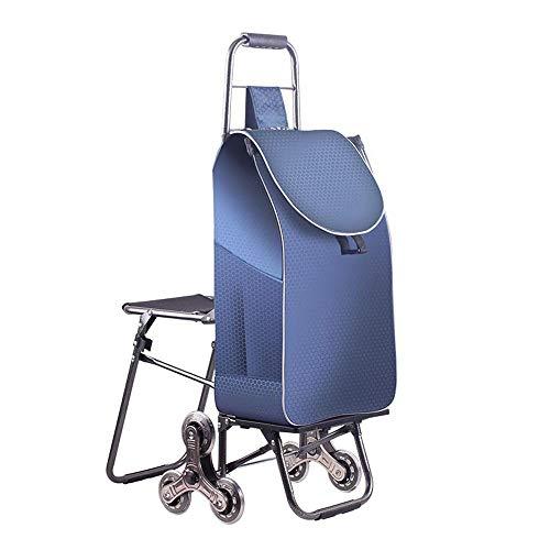 Leichter Einkaufswagen Durable Wear Resistant Shopping Bag Einkaufswagen Faltbar (Farbe : Dunkelblau, größe : 90x55x25cm)