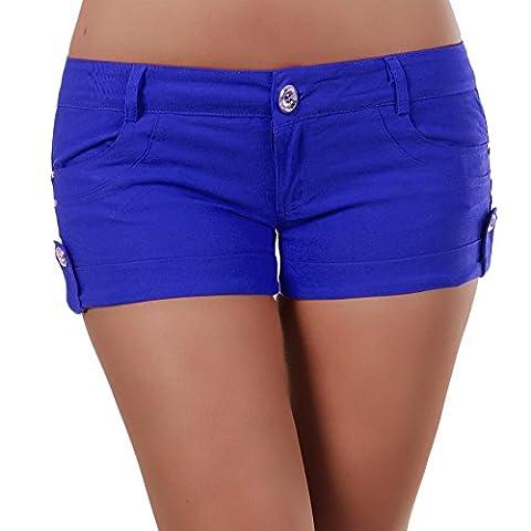 N118 Damen Jeans kurze Hose Damenjeans Hüftjeans Hot Pants Shorts Panty, Farben:Blau;Größen:XL