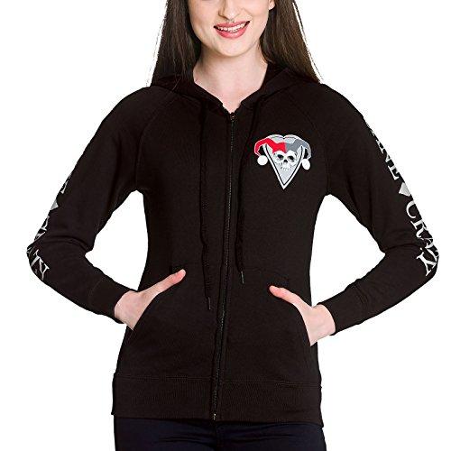 Hoodie Harley (Harley Quinn Damen Kapuzen Jacke Sane & Crazy Hoodie DC Comics schwarz -)