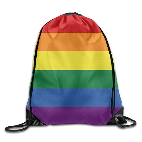 Rainbow Gay Pride Flag Printed Drawstring Bag Gym Backpack