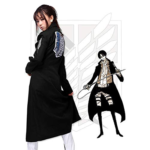 Memory meteor Attack on Titan (Shingeki No Kyojin) Cosplay Jacket Man Women Trench Coat Cosplay Costume Black,M (Attack On Titan Kostüm Cape)