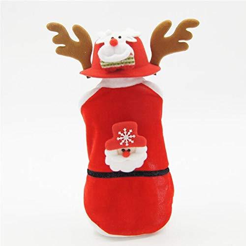 (SEnjoyy Weihnachten Santa Haustiere Warme Jacke Kostüme Anzug Einstellbare No-Pull Hunde Harness mit Elch Hut für Paar Hunde)