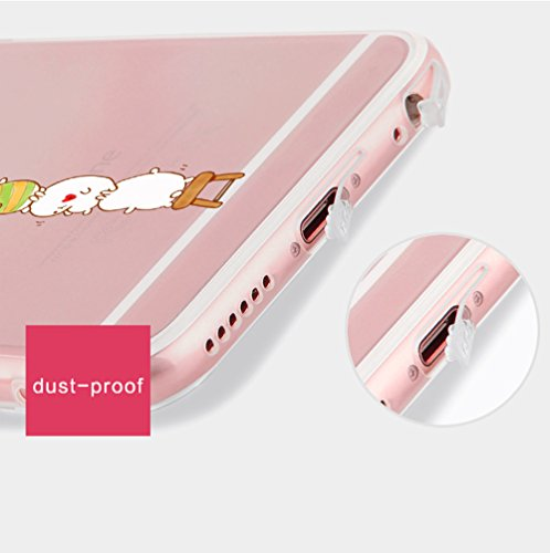"Coque iPhone 6 Plus 5.5"" Ultra-Mince Silicone TPU Gel Transparent Souple Etui Housse Sunroyal® Apple iPhone 6 Plus / 6s Plus (5.5 Pouces) Case de Protection Spécial Back Cover Anti-Choc Bumper - Floco Cartoon 02"
