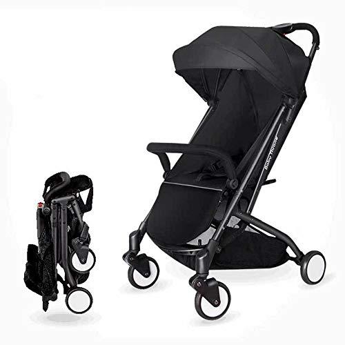 SCJ Kinderwagen aus Aluminiumlegierung, Leichter klappbarer Kinderwagen, atmungsaktiv/Anti-Moskito/Anti-Prise/einfach zu transportieren - Stabiler Kinderwagen,Black