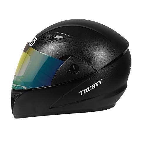 JMD HELMETS Trusty Full Face Helmet with Mirror Visor (L) (BLACK)