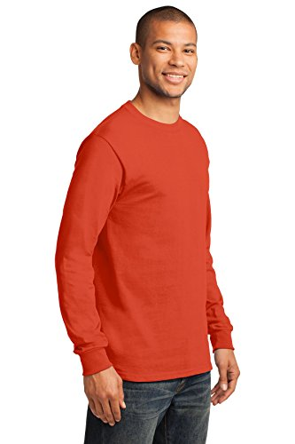 Port & Company Herren Port & Company Long Sleeve Essential T-Shirt Orange