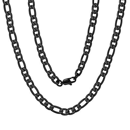 ChainsPro Figarokette 925 Sterlingsilber Männer-Halskette - Weizenkette - Fuchsschwanz - 6mm Breite - Verschiedene Längen: 41-76 cm