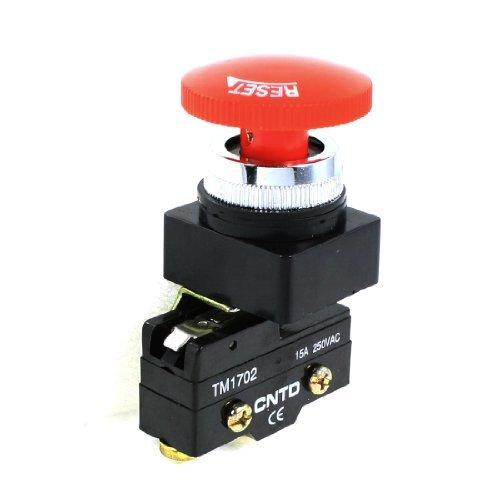 Preisvergleich Produktbild 250VAC 15A 25mm schroefdraad Rode Paddestoel Hoofd 1NO 1NC Locking resetten Micro Switch