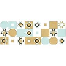 Laroom 14167 - Alfombra vinílica de cocina baldosas desierto 140 cm, color verde, marrón