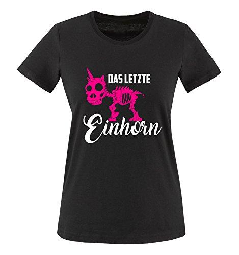 Comedy Shirts - Das letzte Einhorn - Skelette - Damen T-Shirt - Schwarz/Weiss-Pink Gr. 3XL