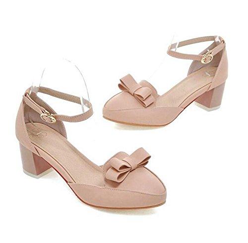 Delle donne della bocca poco profonda Court scarpe confortevoli, con tacco basso con chiusura Toe Bow Fibbia sandali Casual light pink