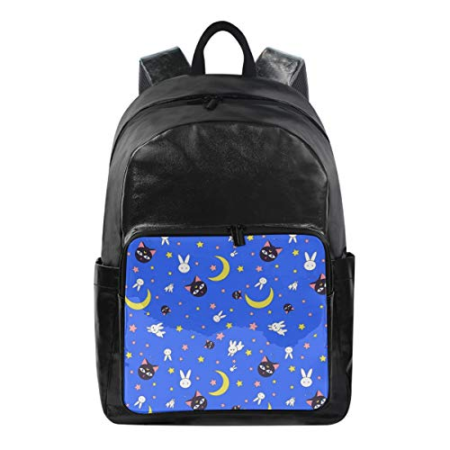 Student Backpacks College School Book Bag Travel Hiking Camping Daypack for Boy for Girl , 12.5x9x17.5, Holds 12.5-inch Laptop (Cute White Rabbit Black Cat Blue)