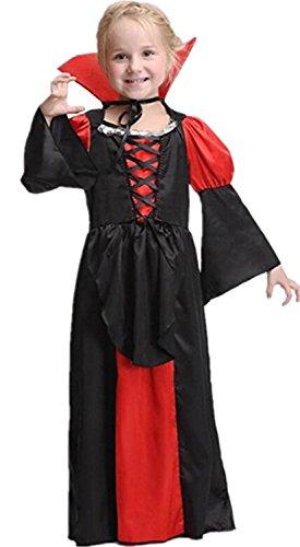 WLITTLE Halloween Kostüm Mädchen Kinderkostüm Vampir königin Cosplay Halloween Kostüm Mädchen Karneval Cosplykostüm Party rot-schwarz Kleid
