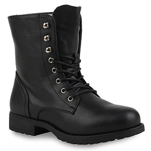 Damen Stiefeletten Profilsohle Worker Boots Leder-Optik Schnürstiefeletten Camouflage Verlours Schuhe 111335 Schwarz 38 Flandell