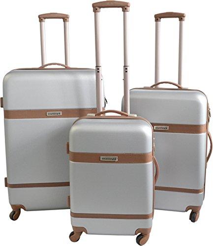 3er ABS Hartschalen Kofferset 'Ribbon' mit Lederapplication Farbe Silber