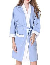 ZiXing Mujer Albornoz Primavera Verano Batas y Kimonos con Cinturón,Muy Suave Cómodo Fino Ligero