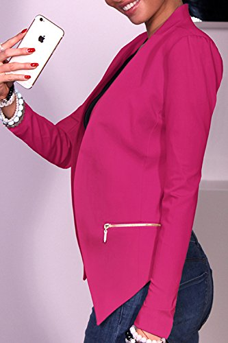 Donna Elegante Forma Slim Aperta Davanti Caduta Top Cardigan Giacche Blazers Red