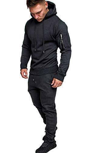 Amaci&Sons Herren Cargo Stil Sportanzug Jogginganzug Trainingsanzug Sporthose+Hoodie 1003 Anthrazit M