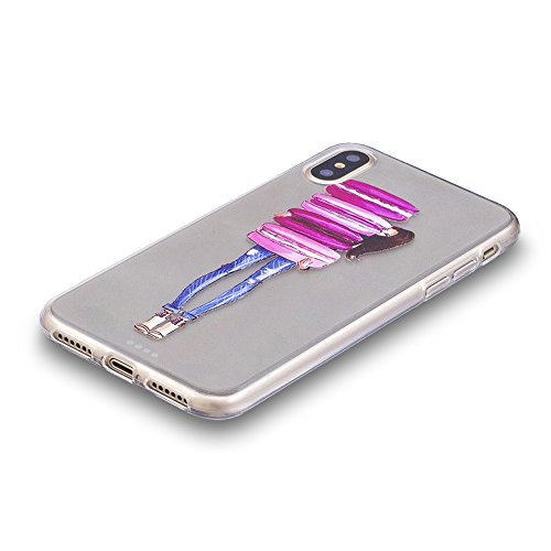 Slynmax Colorato Stampato Cover per iPhone X Custodia Silicone Caso Molle di Morbida Sottile TPU Gel Transparent Bumper Case Protettiva Caso Chiaro Copertura Slim Thin Skin Shell Protezione per iPhone Modello #10