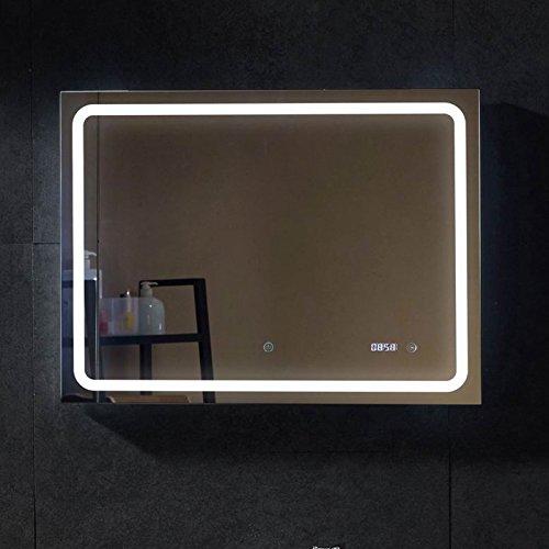 LED Leuchtspiegel Uhr Spiegel beleuchtet 80x60cm Wandspiegel Lichtspiegel Wand