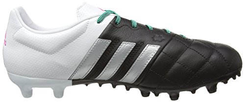 adidas Herren Ace 15.3 Fg/Ag Leather Fußballschuhe Mehrfarbig (Black / Silver / White - (NEGBAS/PLAMAT/FTWBLA))