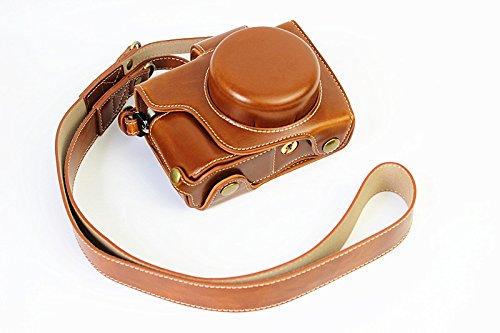 Vollsohlensicherungen Öffnungs Version Schutz-PU-Leder Kamera Tasche mit Stativ-Design-kompatibel für Olympus OM-D E-M10 Mark 2 EM10 Mark II mit 14-42mm F3.5-5.6 EZ-Objektiv mit Schulter-Ansatz-Bügel-Gurt Brown (Omd Kamera-tasche Olympus Für Em10)
