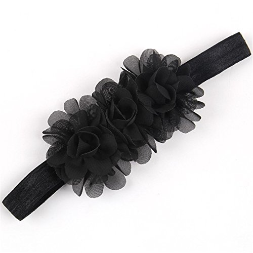 ffon Blumen Baby und Neugeborenen Mädchen Stirnband - Gorgeous Rosetten auf Super Weich und dehnbar Haarband für Neugeborene und Baby Mädchen (Schwarzes Stirnband Hut)