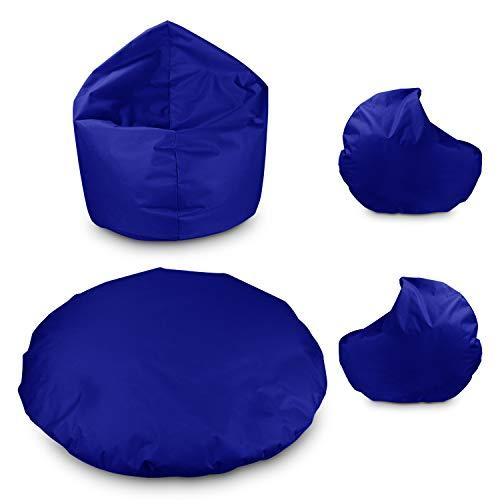 byufya Sitzsack Bodenkissen 2 in 1 100cm Durchmesser Blau mit Füllung Sitzbag Kissen Kinder Sessel...