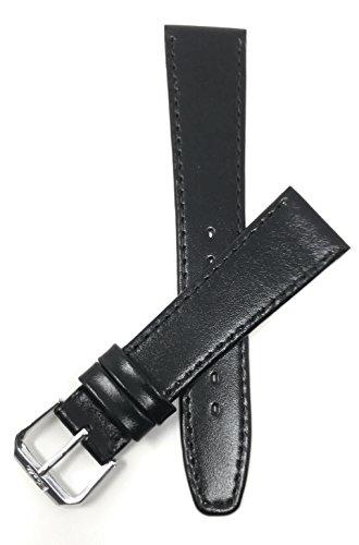 Extra Long (XL) 20mm Bracelet de montre en cuir véritable,noir, avec coutures, aussi disponible en marron