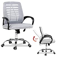 EUCO Grey Desk Chair Computer Office Chair Executive Comfy Padded Mesh Chair with Armrest Ergonomic Swivel Chair Home Office Rocker Chair