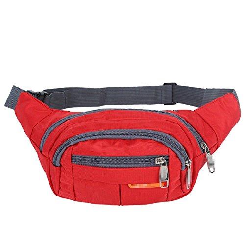 GXYLLDS Waist Pack Sport Running Fitness Viajes Impermeable Seguridad Bolsa De Teléfono Móvil Hombres Y Mujeres Correa Para Correr,Red-OneSize