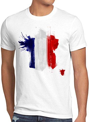 CottonCloud Flagge Frankreich Herren T-Shirt Fußball Sport France WM EM Fahne, Größe:XL, Farbe:Weiß