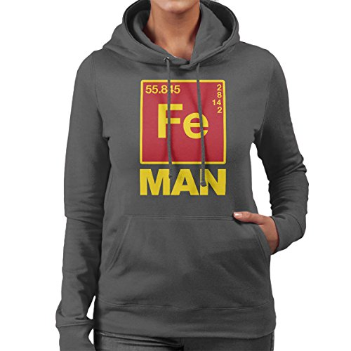Iron Man Chemical Symbols Women's Hooded Sweatshirt Charcoal