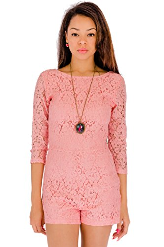 Womens Summer Sexy Party Playsuit - Scoop Neckline Three-Quarter Sleeves Mini Lace Rompers In Size 8 10 12 14 and Colour Black Fuchsia Delta Blue