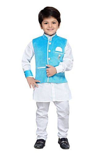 AJ Dezines Kids Kurta Pyjama Waistcoat Set for Boys (7004_FIROZI_8)