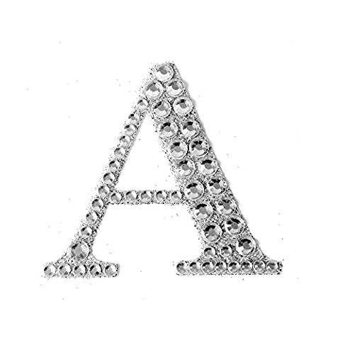 Large Self Adhesive Diamante Glitter Letters, Numbers, 5.5cm. Wedding gift favour box (letter - A)
