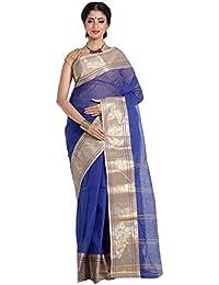 Women Blue Pure Handloom Bengal Cotton Tant Saree